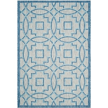 Bungalow Rose Amedee Power Loom Aqua Blue/Gray Indoor/Outdoor Area Rug; 2' x 3'7''