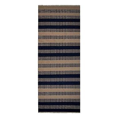 Breakwater Bay Sacramento Contemporary Hand-Woven Wool Aqua/Cream Area Rug; Runner 3' x 13'