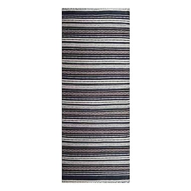 Breakwater Bay Cleland Contemporary Hand-Woven Charcoal/White Area Rug; Runner 3' x 13'