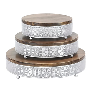 Bloomsbury Market Chaska Traditional Fir Wood and Iron Pierced Design Round 3 Piece Accent Tray Set