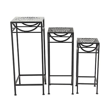 Bloomsbury Market Chino 3 Piece Modern Iron Pierced Top Design Square Nesting Plant Stand Set; Black