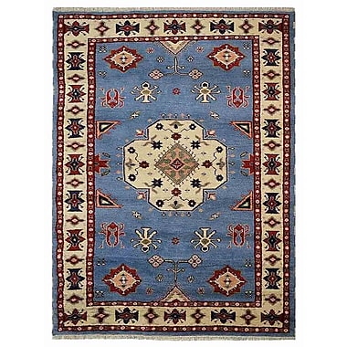 Bloomsbury Market Corrin Hand-Knotted Wool and Silk Blue/White Area Rug; 5' x 8'