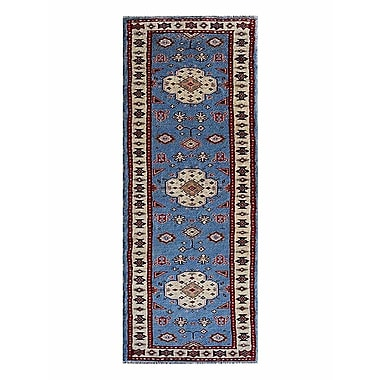 Bloomsbury Market Corrin Hand-Knotted Wool and Silk Blue/White Area Rug; Runner 2' 6'' x 10'