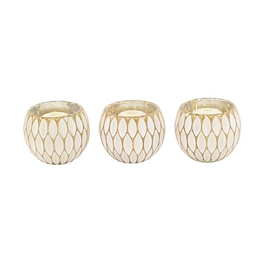 Bungalow Rose Contemporary Round Glass Votive (Set of 3); Gold