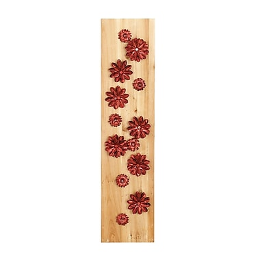 Bungalow Rose Natural 39'' H x 9'' W Petaled Flowers Rectangular Wood and Iron Wall D cor; Red