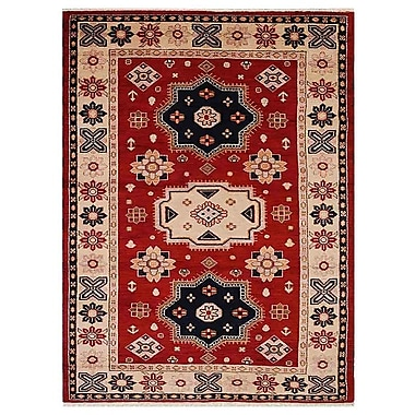 Bloomsbury Market Corrin Hand-Knotted Wool Rectangle Red/Cream Area Rug; 6' x 9'
