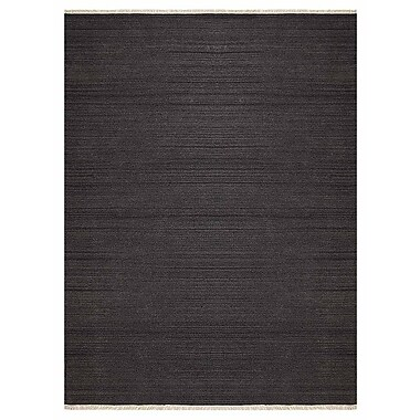 Bloomsbury Market Corte Madera Contemporary Hand-Woven Wool Charcoal Area Rug; 3' x 5'