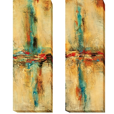 Latitude Run 'Equilibrio I and II' 2 Piece Print Set on Wrapped Canvas; 24'' H x 16'' W