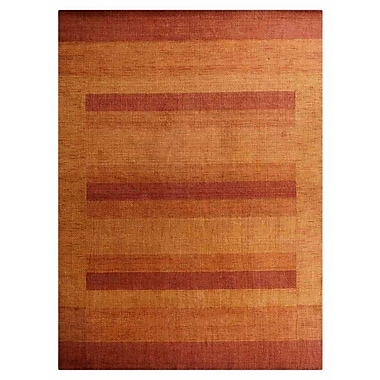 Latitude Run Yizheng Contemporary Hand-Knotted Wool Orange Area Rug; 8' x 10'