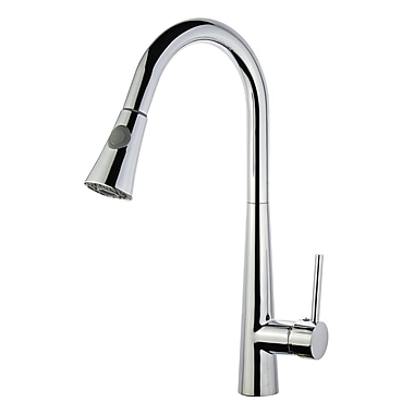 Legion Furniture UPC Pull Down Single Handle Kitchen Faucet w/ Deck Plate; Polished Chrome