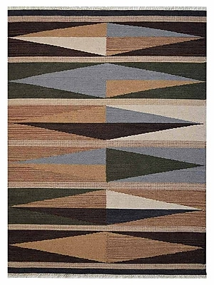 Loon Peak Clarence Contemporary Hand-Woven Wool Brown/Blue Area Rug; 4' x 6'