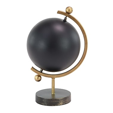 Mercer41 Contemporary Iron Globe; 16'' H x 8'' W x 9'' D