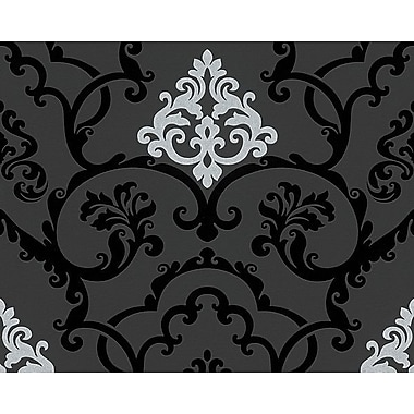 AS Creation 33' x 20'' Damask Wallpaper Roll; Black