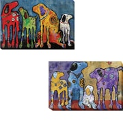'Best Friends and Cast of Characters' 2 Piece Acrylic Painting Print Set on Wrapped Canvas