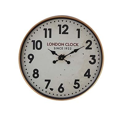 Alcott Hill Buren Vintage Iron London-Inspired Round 12'' Wall Clock; Large