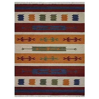 Loon Peak Clare Contemporary Hand-Woven Wool Brown/Blue Area Rug; 5' x 8'