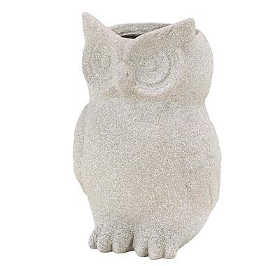 Cole & Grey Farmhouse Owl Clay Statue Planter; White