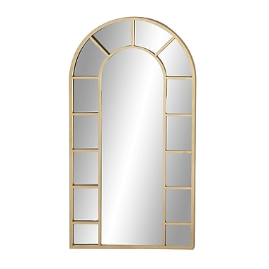 Darby Home Co Askew Contemporary Wood and Iron Arched Accent Mirror; Gold