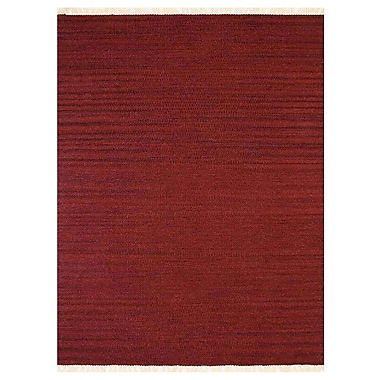 Bloomsbury Market Costa Mesa Contemporary Hand-Woven Wool Burgundy Area Rug; 5' x 8'
