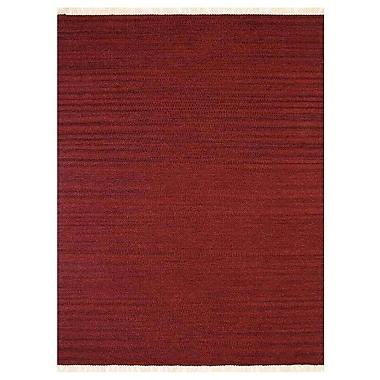 Bloomsbury Market Costa Mesa Contemporary Hand-Woven Wool Burgundy Area Rug; 3' x 5'