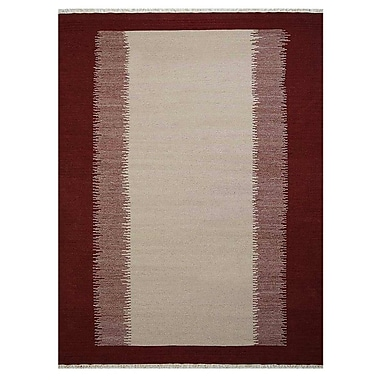 Bloomsbury Market Countryside Contemporary Hand-Woven Wool Cream/Wine Area Rug; 10' x 14'