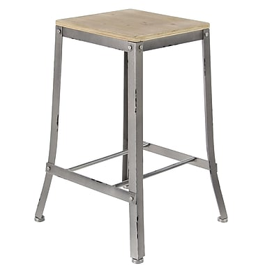 17 Stories Hoan Industrial Fir Wood and Iron Square Counter 24'' Bar Stool; Gray