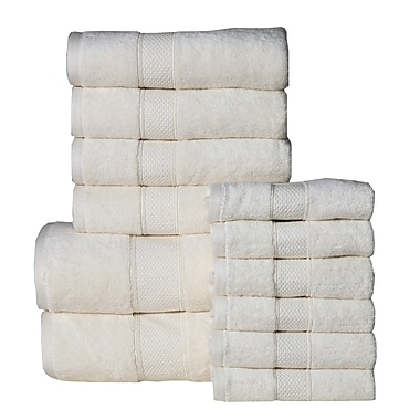 August Grove Dorn 12 Piece Towel Set; Ivory