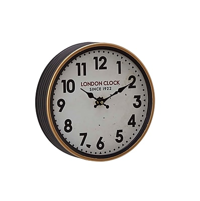 Alcott Hill Buren Vintage Iron London-Inspired Round 12'' Wall Clock; Small