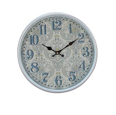 August Grove Elkland Traditional Iron Flourish-Designed Round 12'' Wall Clock; Small
