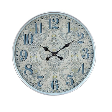 August Grove Elkland Traditional Iron Flourish-Designed Round 12'' Wall Clock; Large