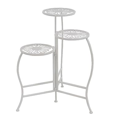 August Grove Este Natural Iron Stems and Leaves Square Nesting Plant Stand; White