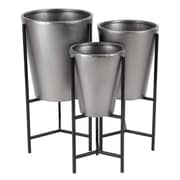 Cole & Grey Modern Conical 3-Piece Metal Pot Planter Set w/ Stand; Brown