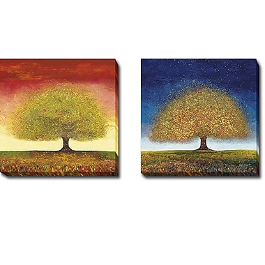 Alcott Hill 'Dreaming Tree' 2 Piece Print Set on Wrapped Canvas; 12'' H x 24'' W