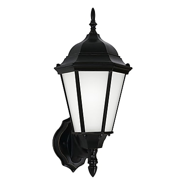 Alcott Hill Anita 1-Light Outdoor Sconce w/ Glass Shade; Black