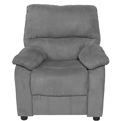 Harriet Bee Balogh Microfiber Kids Recliner w/ Storage Arms; Gray