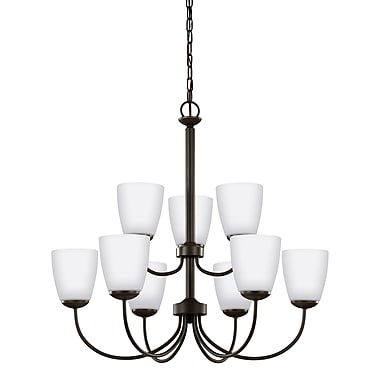 Red Barrel Studio Zolt n 75W 9-Light Shaded Chandelier; Heirloom Bronze