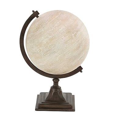 17 Stories Traditional Pine Wood and Iron Pedestal Globe; White