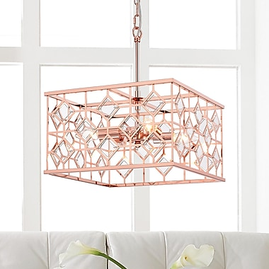 Brayden Studio Workman Cage 4-Light Geometric Pendant; Chrome
