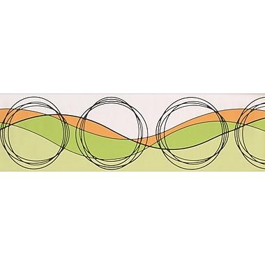 ChesapeakeWallcoverings Circles Wave Design 15' L x 7'' W Wallpaper Border; Beige/Orange/Green