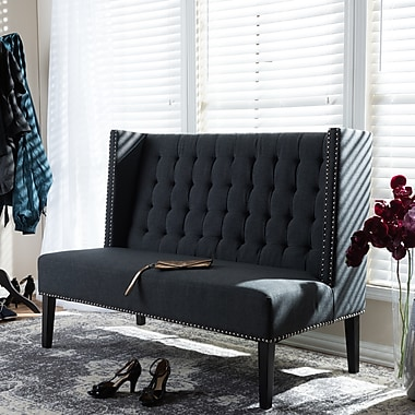 Darby Home Co Aldford Upholstered Bench; Dark Charcoal Gray
