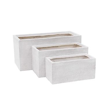 Cole & Grey Modern Rectangular 3-Piece Clay Planter Box Set; White
