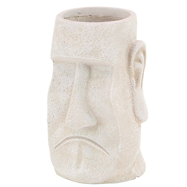 Cole & Grey Traditional Face Clay Statue Planter; White