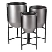 Cole & Grey Modern Tapered Round 3-Piece Metal Pot Planter Set w/ Stand; Brown