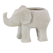 Cole & Grey Traditional Elephant Clay Statue Planter; White