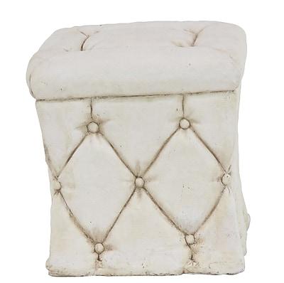 Cole & Grey Rustic Polystone SquareTufted Garden Pedestal; White
