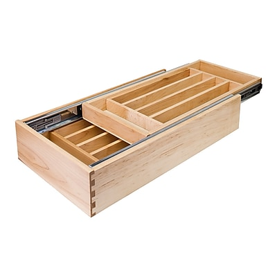 Hardware Resources Double Cutlery 4.19''H x 14.5''W x 21''D Drawer Organizer