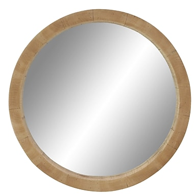 Foundry Select Alper 24'' Rustic Wooden Round Accent Mirror; 24'' H x 24'' W x 3'' D