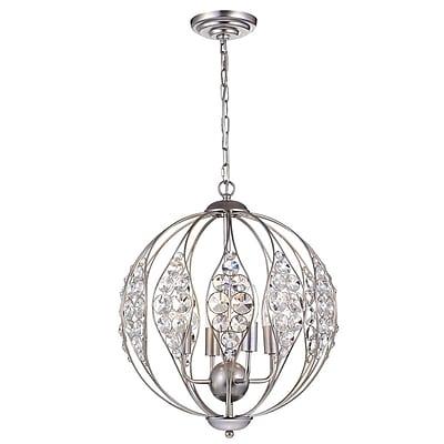 Rosdorf Park Maritza Leaf 3-Light Globe Pendant; Brushed/Silver