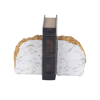 Ivy Bronx Rustic Polystone Domed Rock Bookends (Set of 2); White