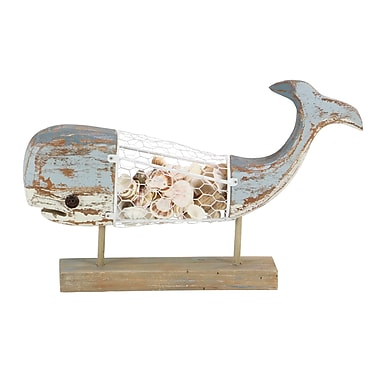 Highland Dunes Sommers Coastal Whale Wood and Metal Figurine on Stand; Brown